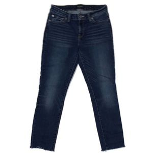 Lucky Skinny Jeans with Raw Hem-Whiskering-Fading